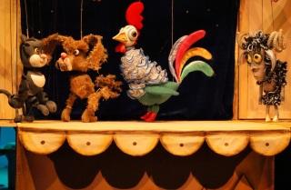 Сцена из детского кукольного спектакля про кота Ваську