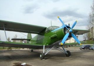 Самолёт с крутящимся пропеллером в парке Победы